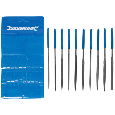 Silverline 10 Piece 140mm Needle File Set 2nd Cut Round Square Flat Barett