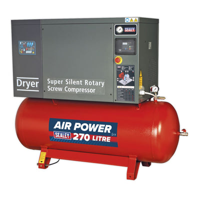 Sealey Screw Compressor 270L 10hp 3ph Low Noise with Dryer
