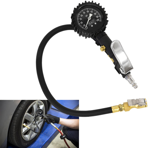 Sealey Tyre Inflator with Clip On Connector Glow in the Dark Dial