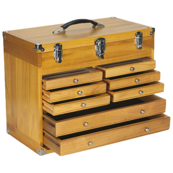Sealey 8 Drawer Machinist Wooden Toolbox Walnut Finish Lockable Dividers