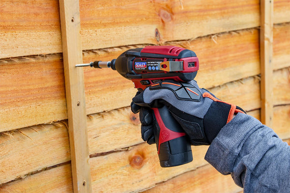 "Sealey 12V Cordless 1/4"" Hex Drive Impact Driver Kit 2 x Batteries, Charger & Canvas Bag"