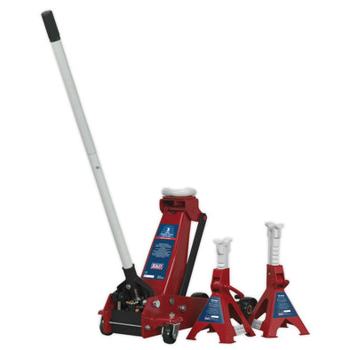 Sealey Trolley Jack 3tonne Standard Chassis with Axle Stands (Pair) 3tonne Capacity per Stand