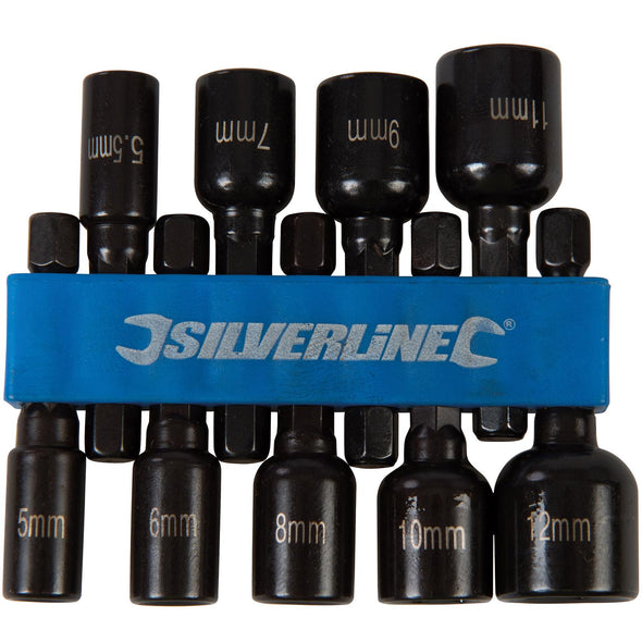 Silverline 9 Piece Metric Magnetic Nut Driver Set 5-12mm Metric Hex Drill Socket Adaptor