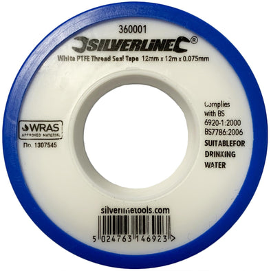 Silverline 1 Roll White PTFE Thread Seal Tap Water Plumbing 12mm x 12m