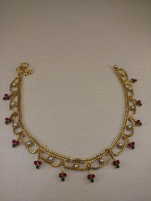 Anklets - Golden Multicolour Anklets With White Pearl