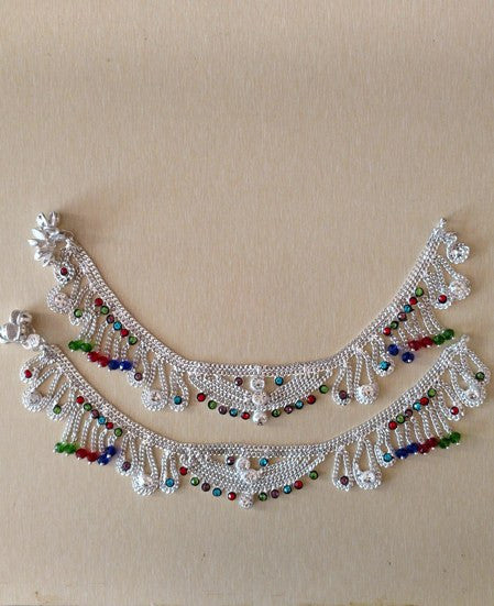 Anklets - Partywear Silver Multicolour Anklets With Coloured Stones
