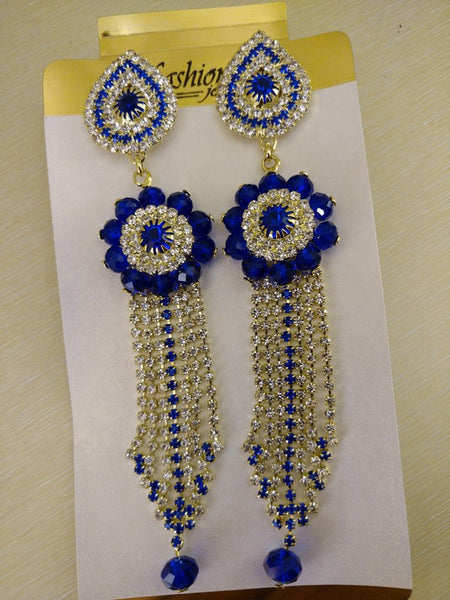 Earrings - Blue Hanging Earrings With Silver Stones