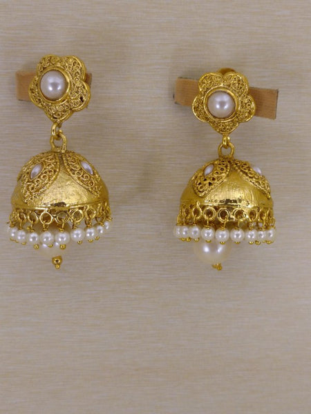 Earrings - Golden  Earrings With Small White Pearls