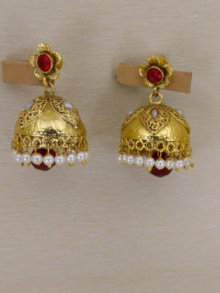 Earrings - Golden  Earrings With Small White Pearls & Red Stones