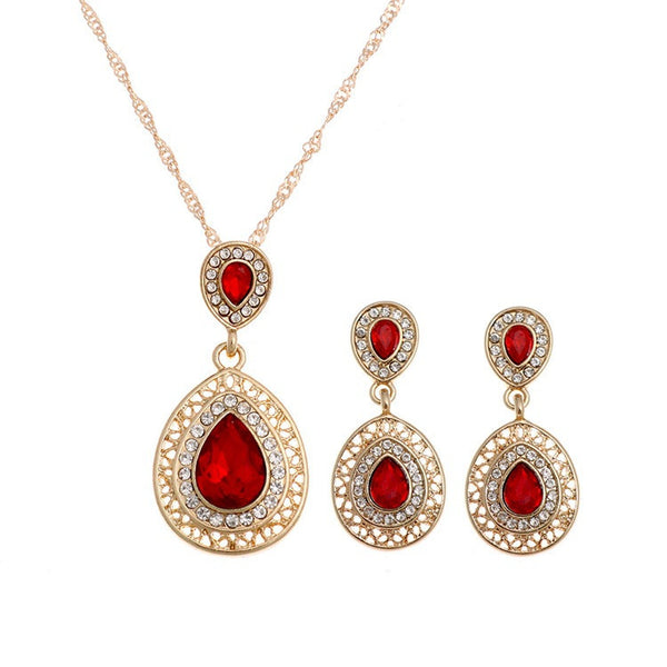 Crystal Red Necklace Earrings -Premium Pendants- INCART