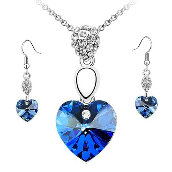 Girl Women Blue Crystal Necklace Earring -Necklaces & Pendants- INCART
