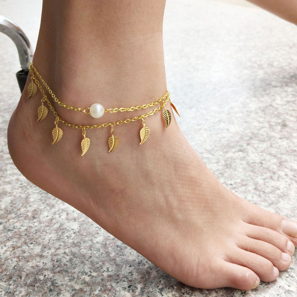 1PC Sexy Simple Gold Anklet Ankle Bracelet Leaf Foot Chain Adjustable -Anklets- INCART