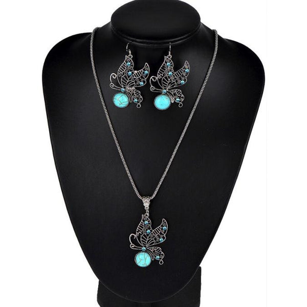 Pierced Butterfly Turquoise Earrings Necklace Sets -Premium Pendants- INCART