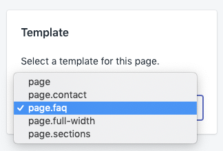 Set the page template to page.faq