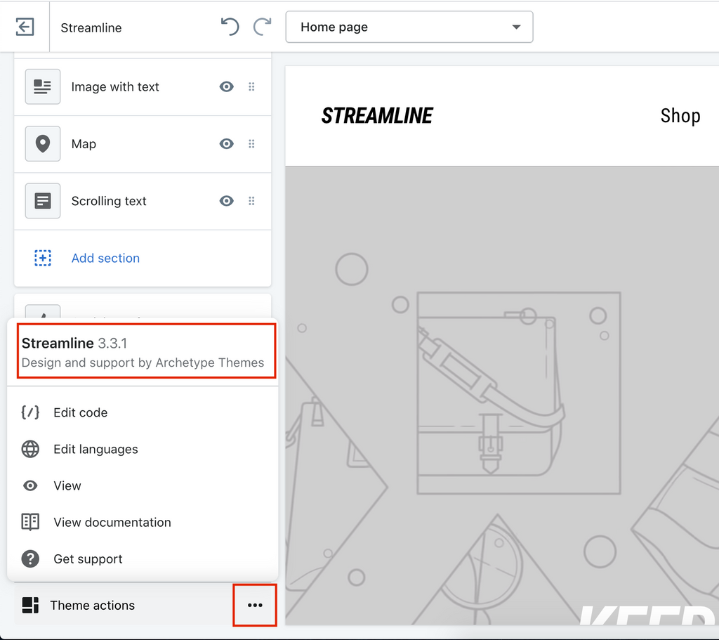 Screenshot of where Streamline version number can be found