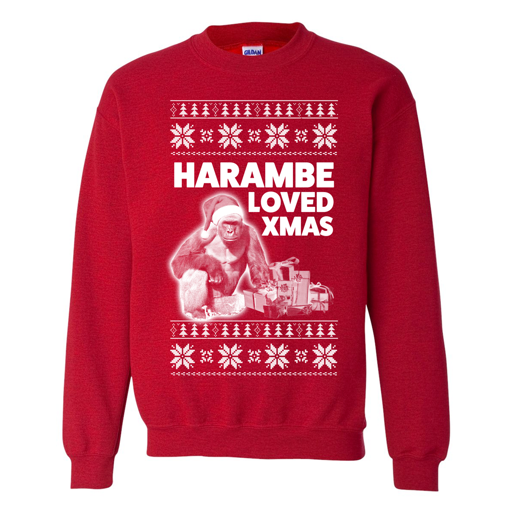 harambe loved christmas alt ugly christmas sweater themerchspot