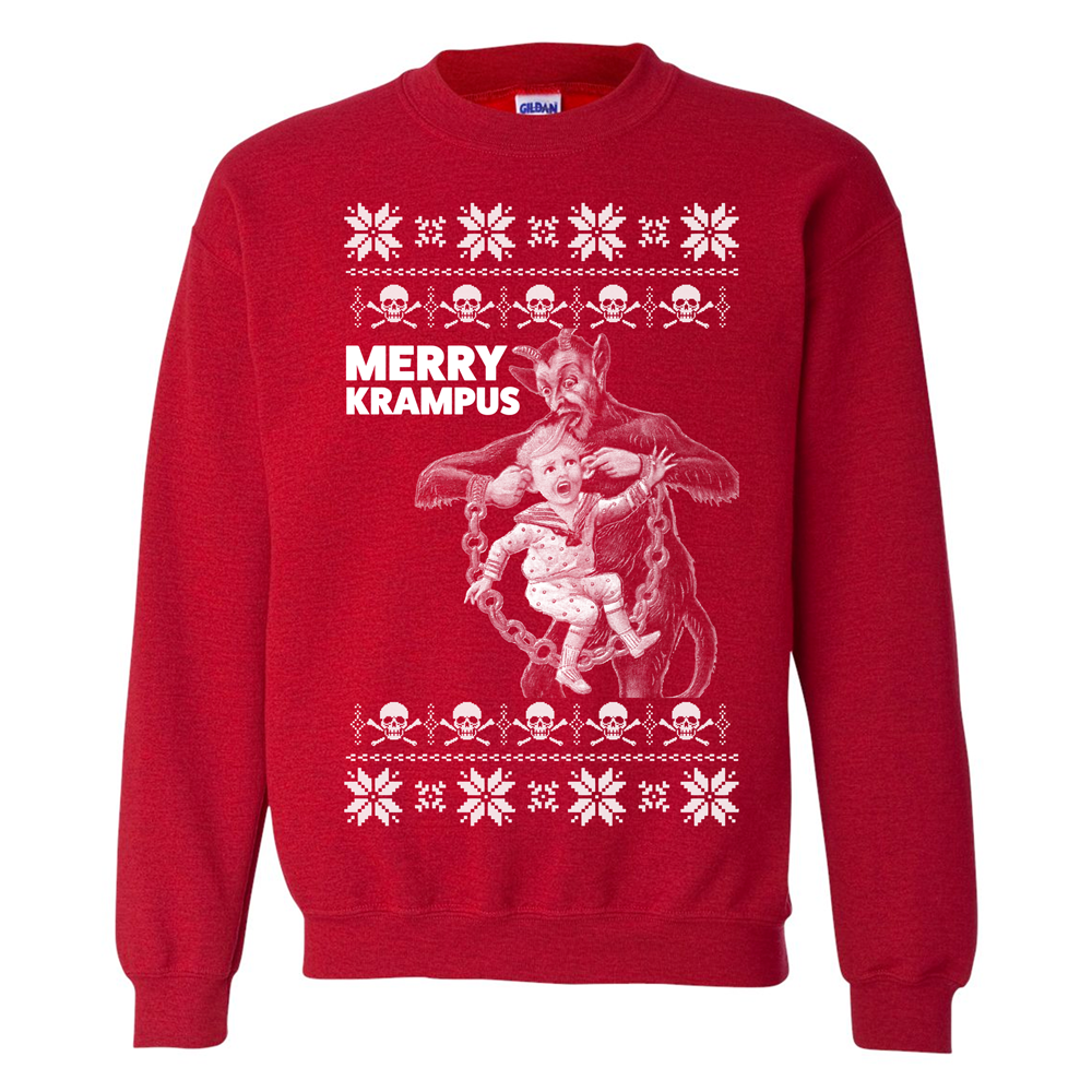 merry krampus ugly christmas sweater themerchspot - Red Ugly Christmas Sweater