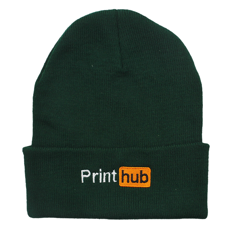 Print Hub Embroidered Beanie - Forest