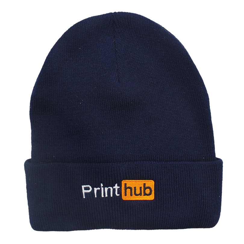 Print Hub Embroidered Beanie - Navy