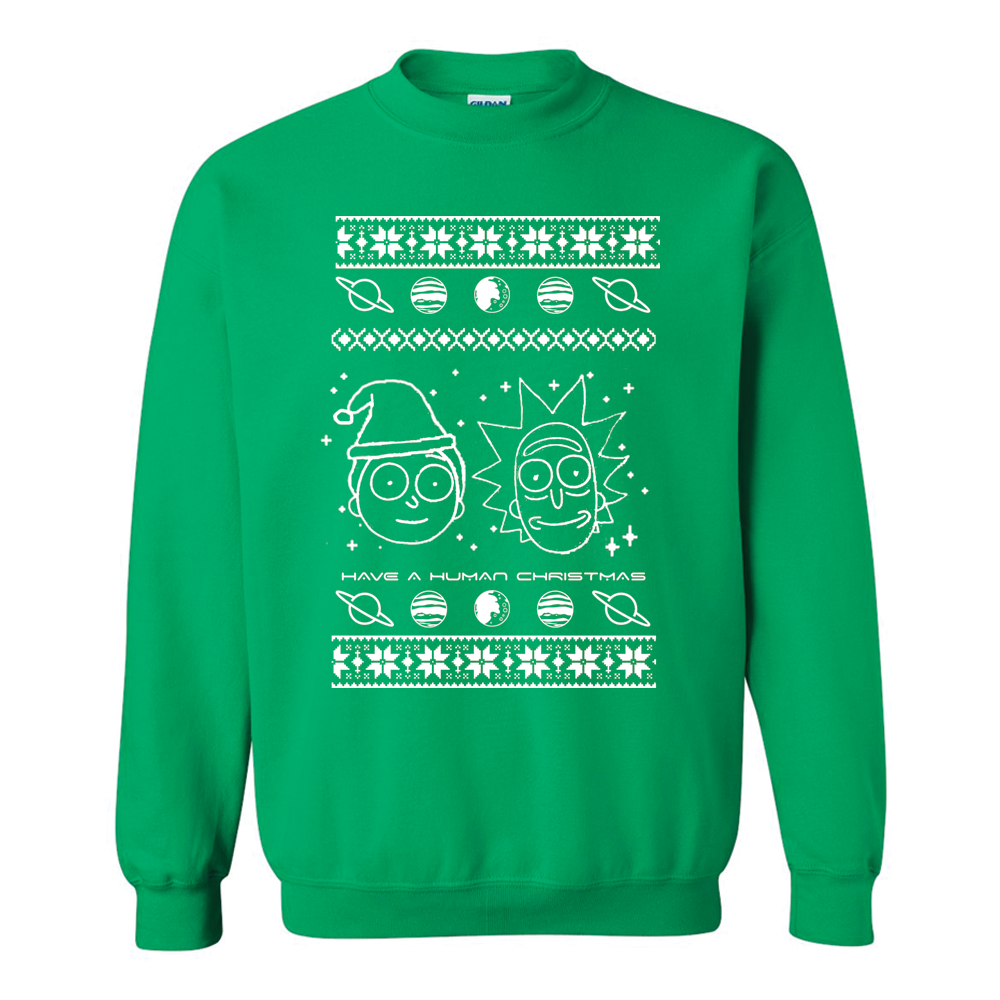Rick And Morty Ugly Christmas Sweater.Rick And Morty Human Christmas Ugly Christmas Sweater