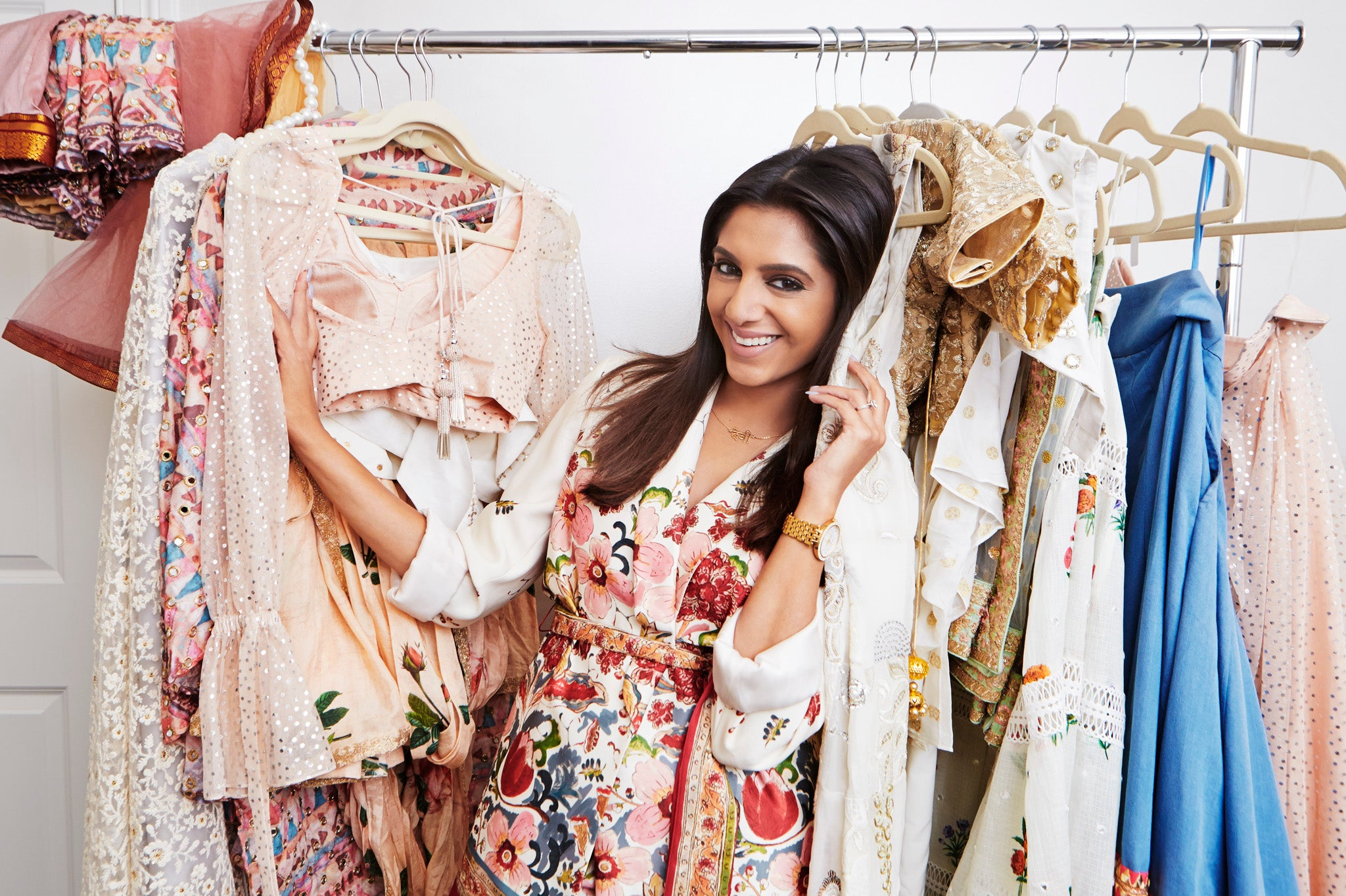 megha rao smiling in her indian contemporary clothing designs