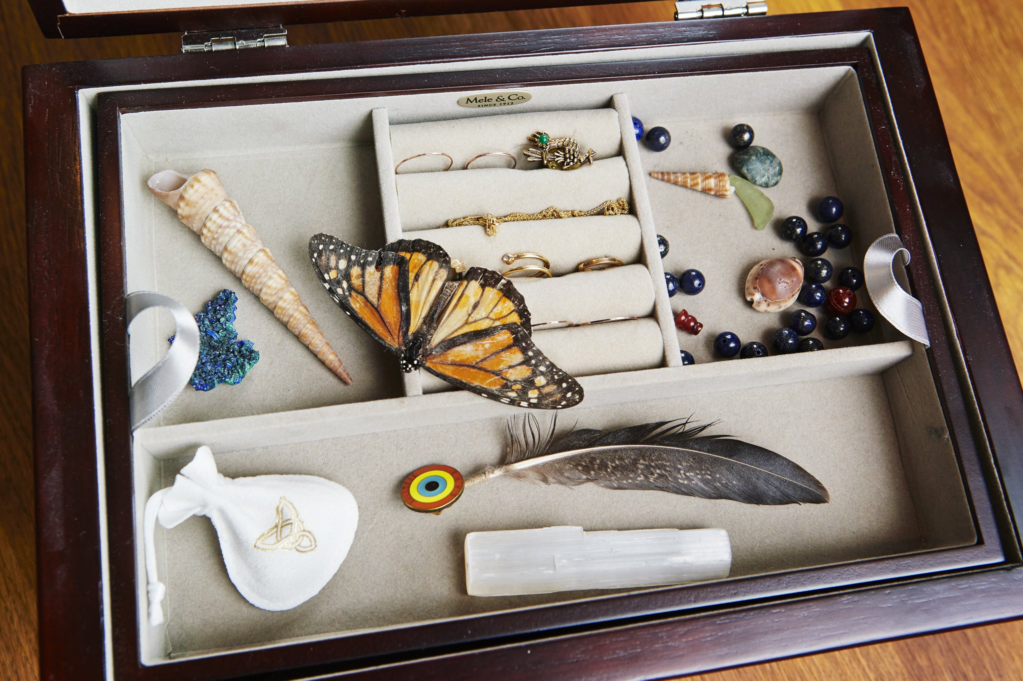 Model Renee Peters' jewelry box with monarch butterfly, Shiffon pouch and Duet Pinky Ring, shells, beads, a feather, and assorted other jewelry