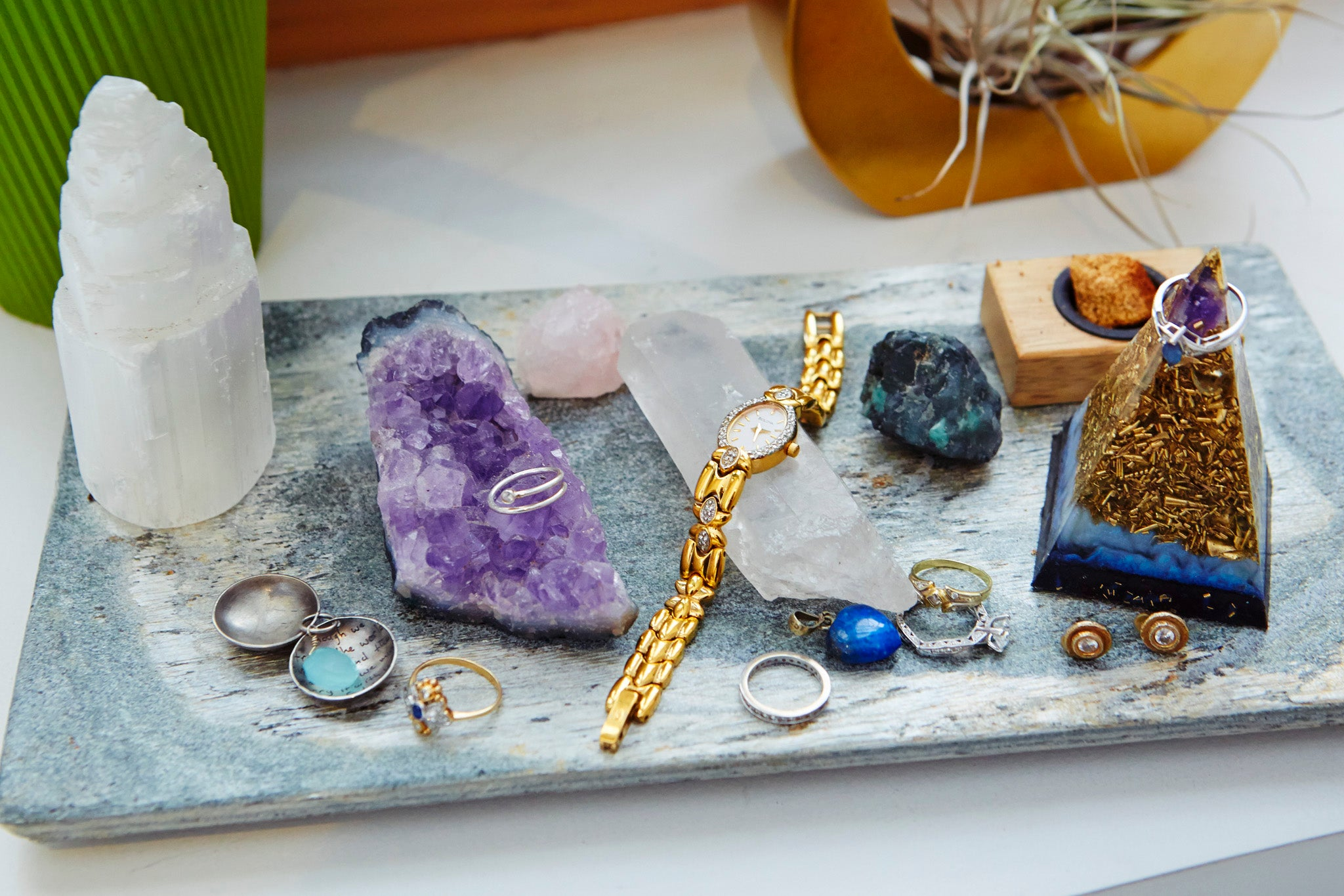Smoothie Beauty founder's jewelry displayed flat lay