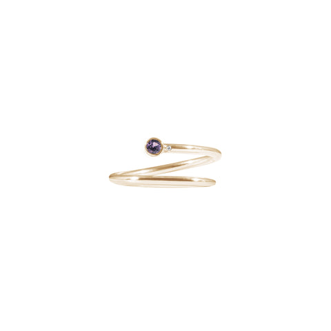Shiffon Pinky Ring 14K Gold with purple sapphire