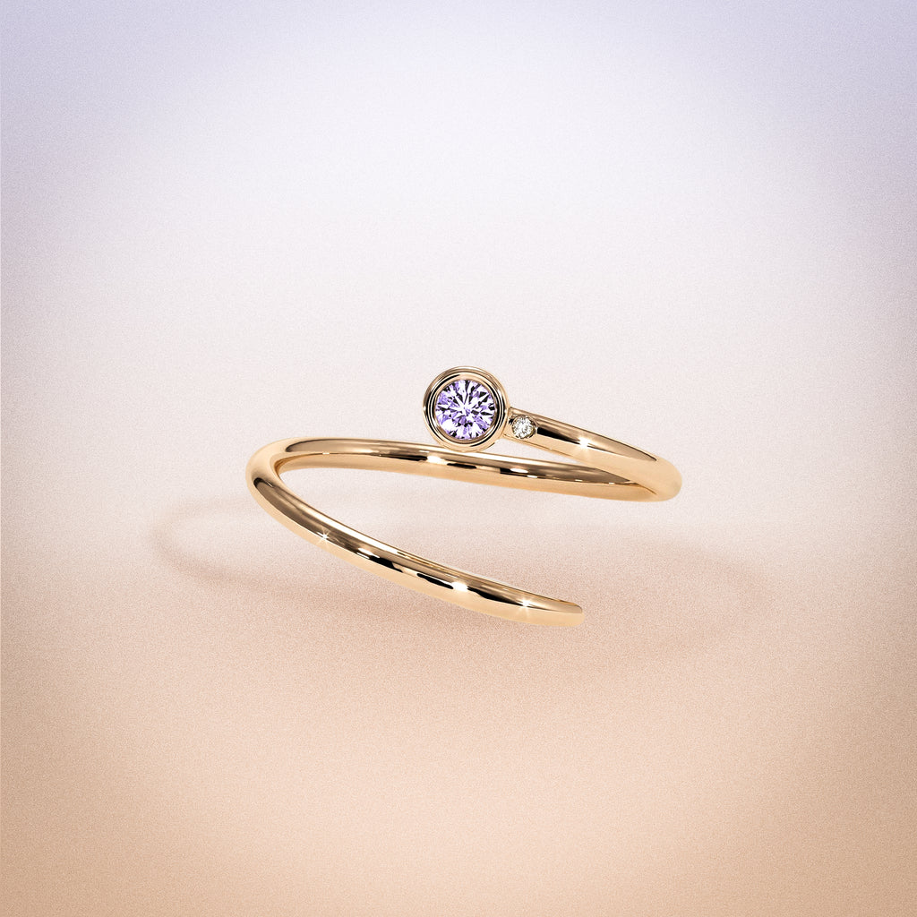 14K Rose Gold Purple Sapphire Duet Pinky Ring