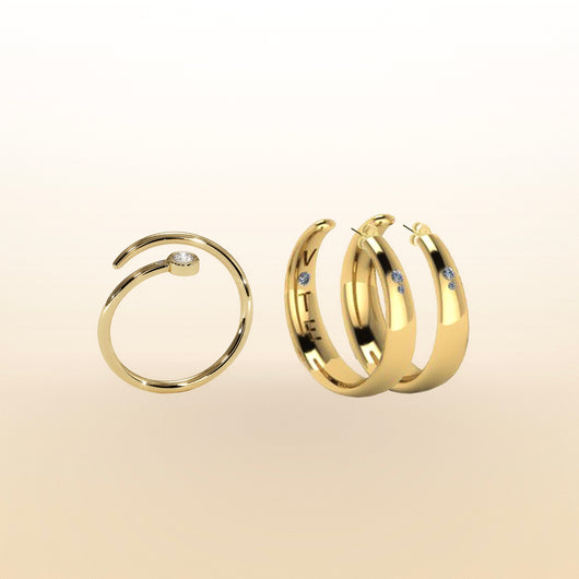 HOOPS + Duet Pinky Ring Set