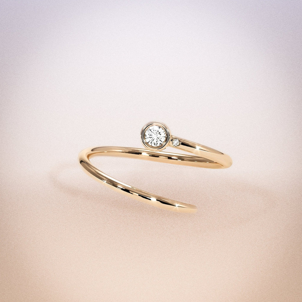 14K Rose Gold White Diamond Duet Pinky Ring
