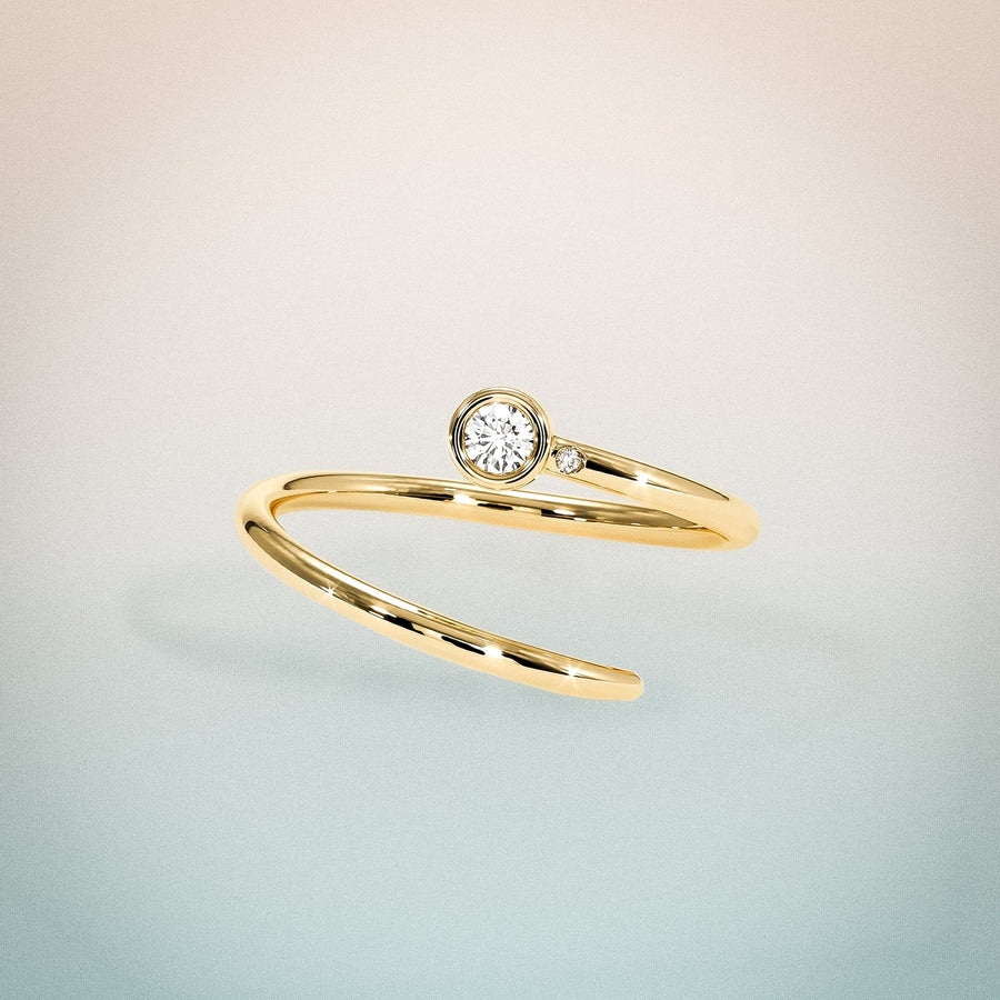14K Yellow Gold Diamond Duet Pinky Ring