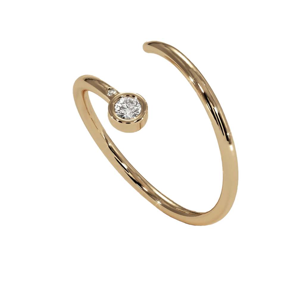Diamond Duet Pinky Ring: 18K Rose Gold