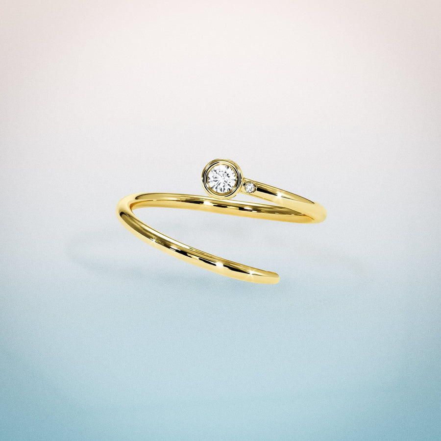 Diamond Duet Pinky Ring: 18K Yellow Gold