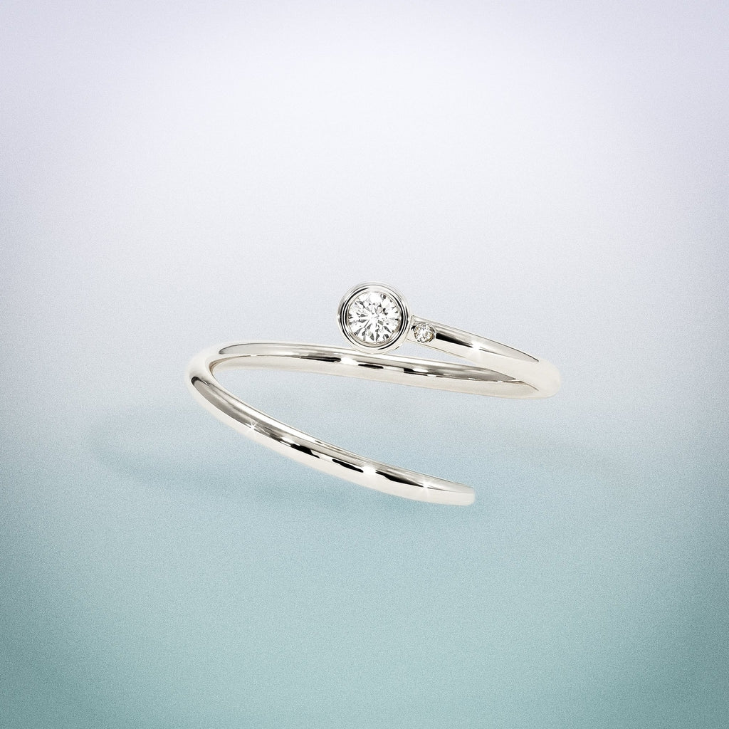 Diamond Duet Pinky Ring: 18K White Gold