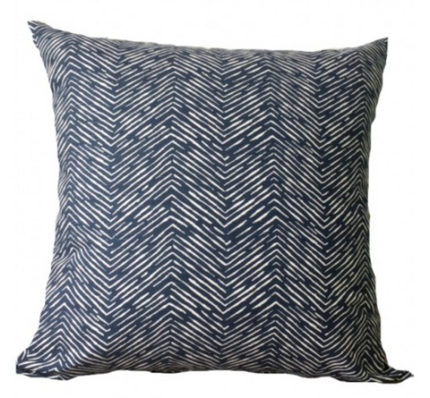 Small indigo cushion 40cm zig zag chevron coastal blue and white