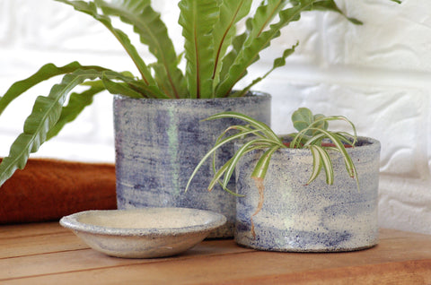 Handmade ceramic planter pot pottery with drainage hole cobalt blue/indigo