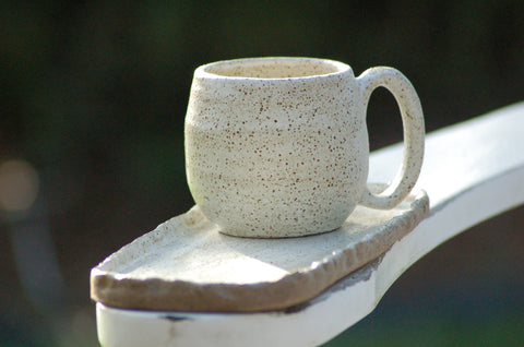 Handmade ceramic tea or coffee mug, natural speckled cream pottery
