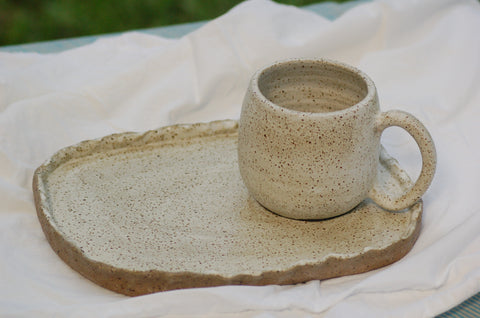 Handmade ceramic coffee cup with breakfast plate, speckled cream servingware pottery
