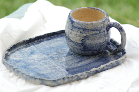 Handmade ceramic coffee cup with breakfast plate, cobalt blue, indigo, navy servingware pottery