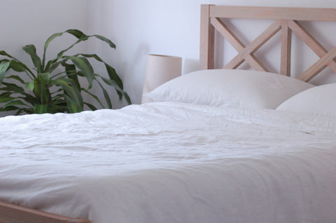 White french flax linen quilt cover set bedding