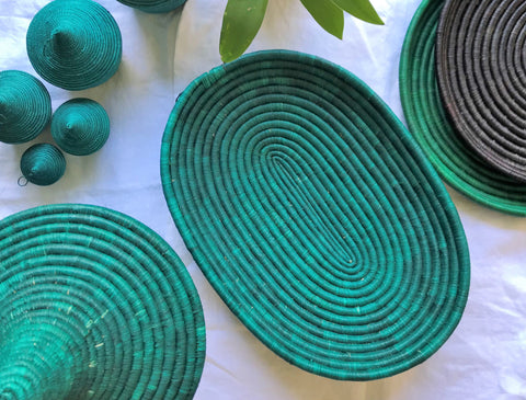 Rwandan Handwoven Serving Bowl Oval Teal fairtrade