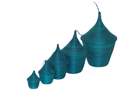 Rwandan Nesting Baskets Teal Turquoise storage fairtrade baskets gifts
