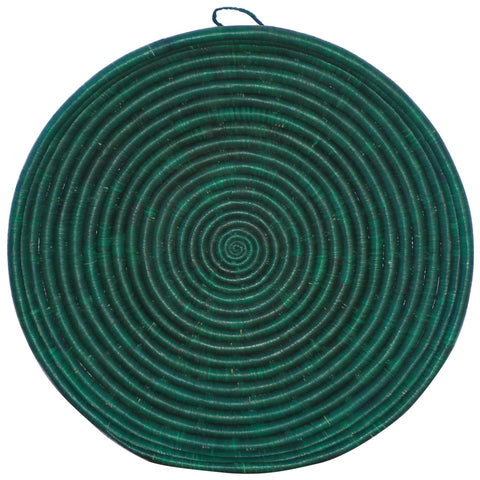 Rwandan Handwoven Serving Tray Round Teal Turquoise fairtrade sisal