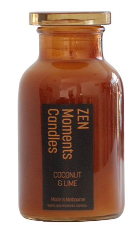 Zen Moments Amber Bottle Candle - Coconut and Lime