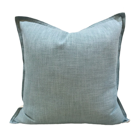 Linen cushion aqua light teal seafoam green handmade hamptons coastal style cushions