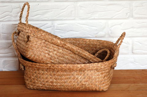 Seagrass Basket - Rectangle w Rope Handle