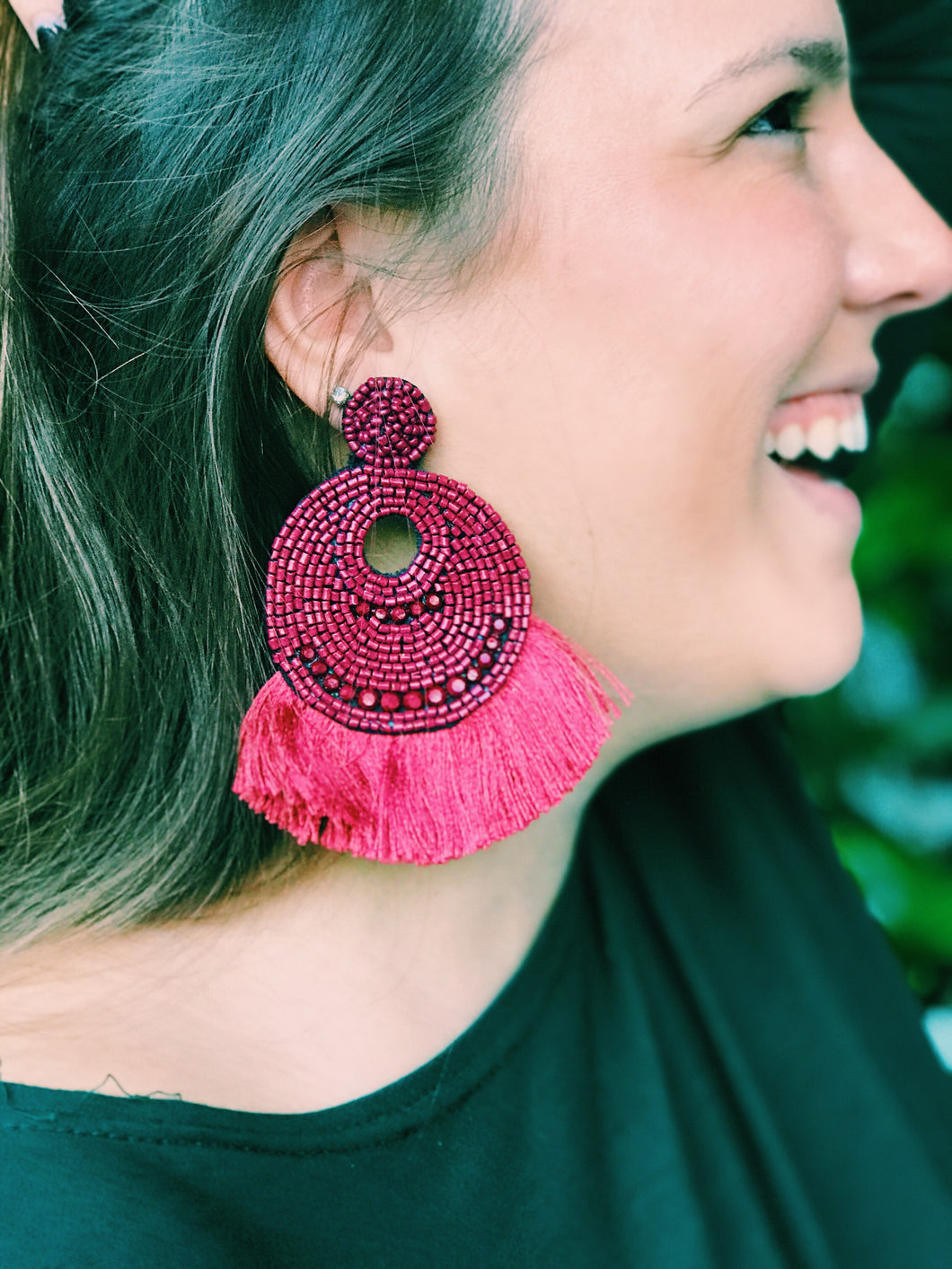 Burgundy Zella Oversized Fringe Earrings
