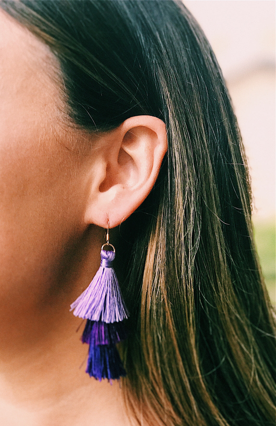 Purple Layered Tassel Earrings