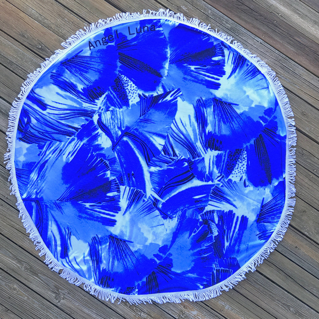 Summer Blues Round Beach Towel